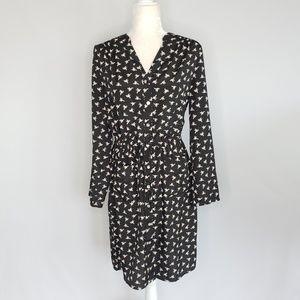 Spence Black & Birds Pattern Button Dress Sz 8